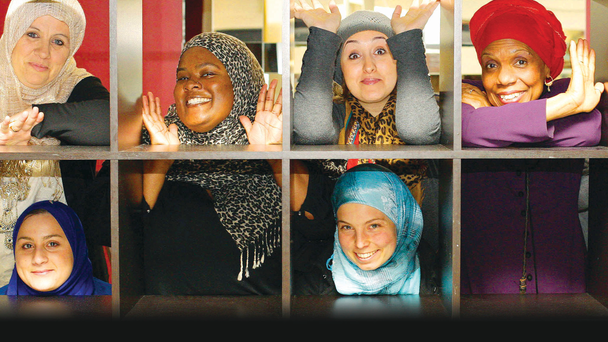Some of the cast of the Hijabi Monologues with Denise Charlton (bottom right) from the Immigrant Council of Ireland