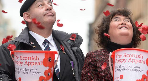 Susan Boyle has helped out volunteers collecting for the Poppy Appeal