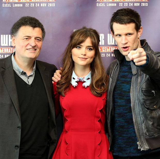 Steven Moffat, Jenna Coleman and Matt Smith at the opening of the Doctor Who Official 50th Celebration