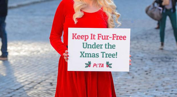Helen Flanagan is backing the charity Peta and calling on shoppers to avoid buying fur products as Christmas presents