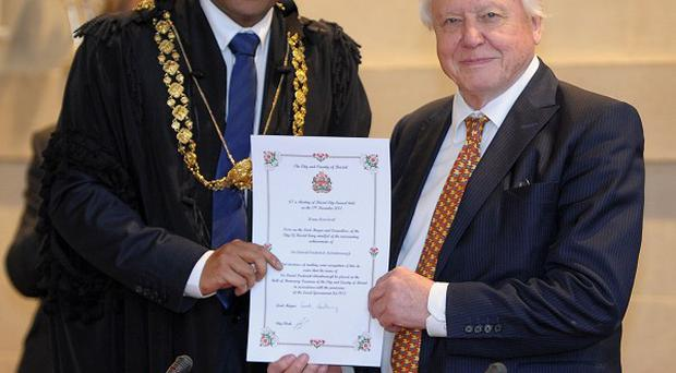 Sir David Attenborough has been awarded the Freedom of the City of Bristol