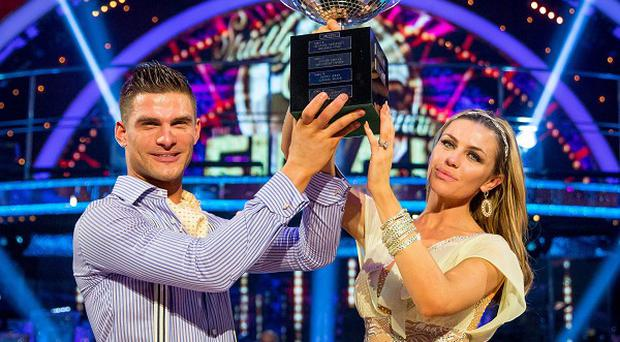 Abbey Clancy with her dance partner Aljaz Skorjanec after they were crowned Strictly Come Dancing champions (BBC/PA)