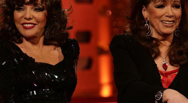 Joan and Jackie Collins during the filming of the New Year's Eve Graham Norton Show