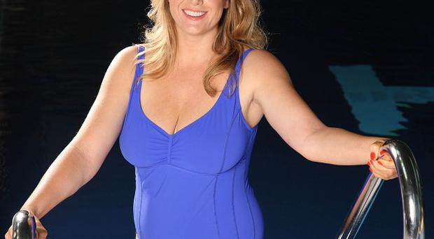Penny Mordaunt the Conservative MP for Portsmouth North during filming of the ITV show Splash!