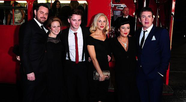 Danny Dyer, Kellie Bright, Sam Strike, Maddy Hill, Jessie Wallace and Shane Richie arriving on a London Red Bus for the 2014 National Television Awards
