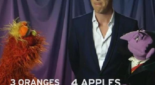 Benedict Cumberbatch gets fruity with Count von Count and Murray Monster