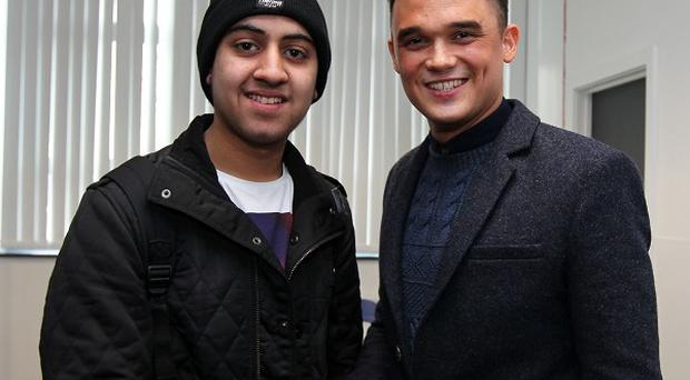 Gareth Gates meets Musharaf, also known as Mushy, from Educating Yorkshire