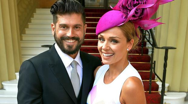 Katherine Jenkins and her partner Andrew Levitas arrive at Buckingham Palace