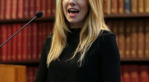 Sienna Miller speaks during the launch of the First Responders humanitarian campaign at the Royal College of Surgeons, London