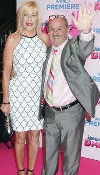 Brendan O'Carroll on the pink carpet with his wife Jenny last night