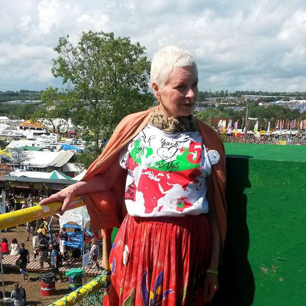Dame Vivienne Westwood at her first Glastonbury Festival
