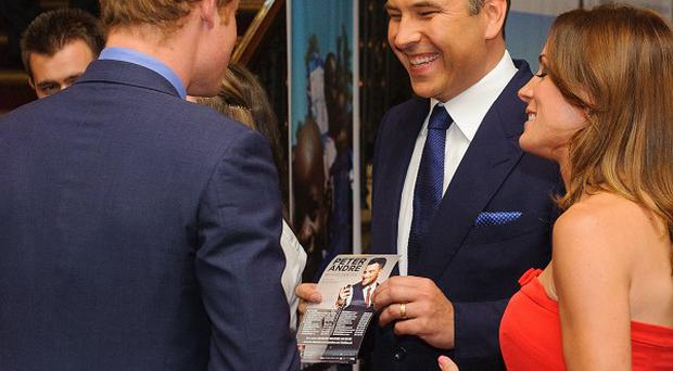 Prince Harry meets David Walliams and Natalie Pinkham at the Royal Albert Hall