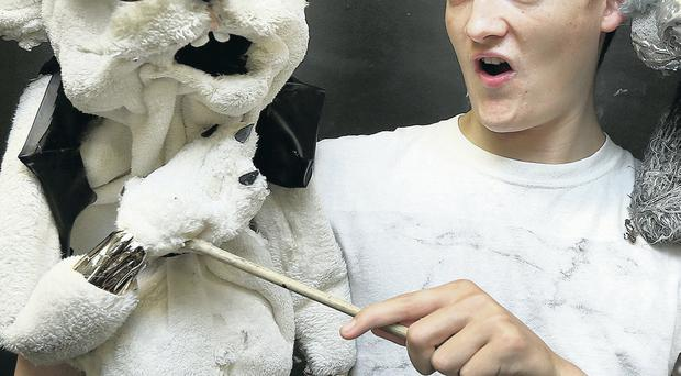 Game of Thrones star Jack Gleeson with one of the puppets from his new show, Bears in Space