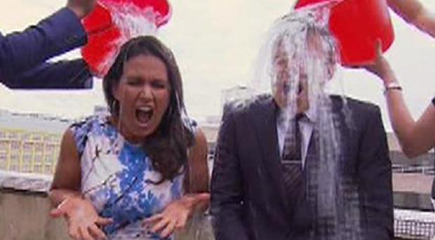 Good Morning Britain presenters Susanna Reid and Ben Shephard take part in the Ice Bucket Challenge