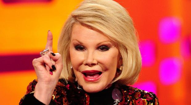 File photo dated 29/11/12 of comedian Joan Rivers who has been moved out of intensive care and is