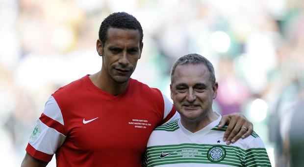 Rio Ferdinand and Paul McStay during a charity match at Celtic Park, Glasgow