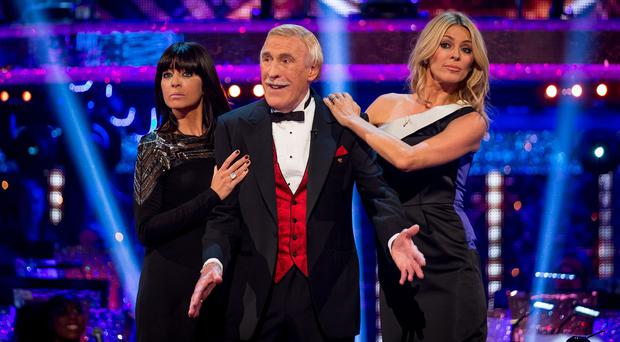 Claudia Winkleman, Sir Bruce Forsyth and Tess Daly during the launch episode of Strictly Come Dancing (BBC/PA)