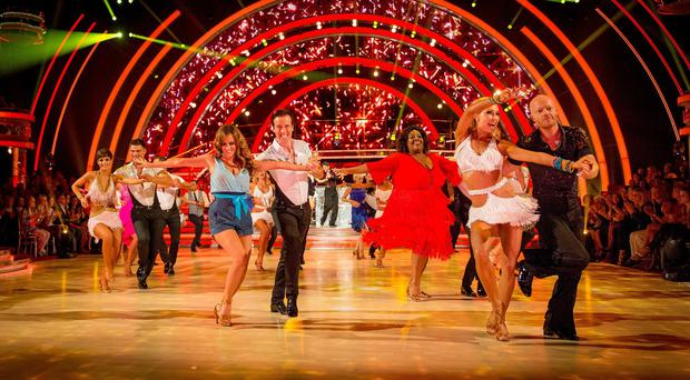 Dancers and contestants take part in a routine on the launch episode of Strictly Come Dancing (BBC/PA)
