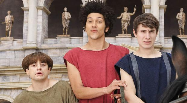 Ryan Sampson, Joel Fry and Tom Rosenthal star in Plebs, which is returning for a second series