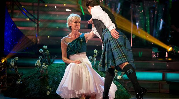 A kilted Anton Du Beke and Judy Murray during the Strictly Come Dancing live show (BBC/PA)