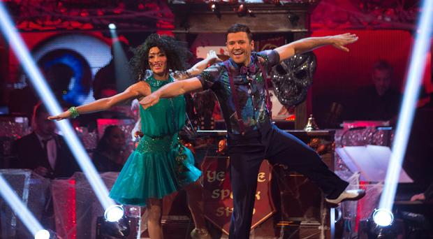 Karen Hauer and Mark Wright during the Strictly Come Dancing live show on BBC One (BBC/PA)
