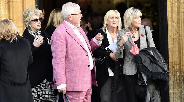 Christopher Biggins and Maureen Lipman (second left) attended the funeral of Lynda Bellingham at St Bartholomew's Church in Somerset
