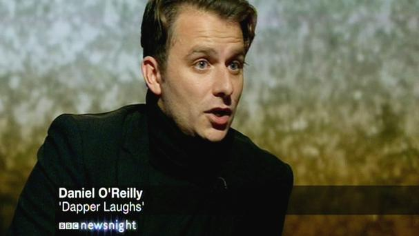 Comedian Daniel O'Reilly said the media storm surrounding his controversial character Dapper Laughs had wrecked his life (BBC Newsnight)