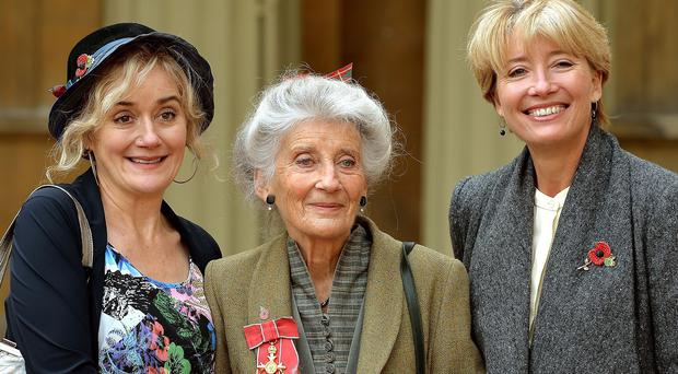 Phyllida Law with daughters Sophie and Emma Thompson after her Investiture ceremony at Buckingham Palace