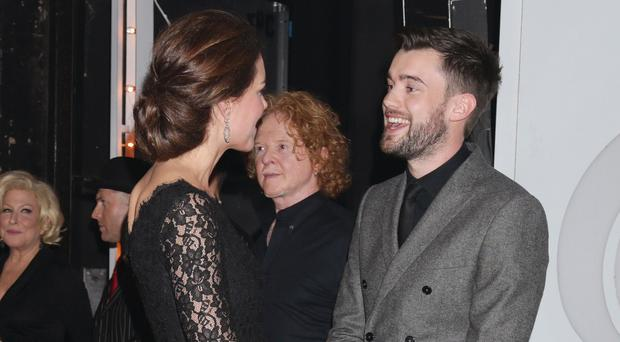 Jack Whitehall meeting The Duchess of Cambridge at the end of the Royal Variety Performance