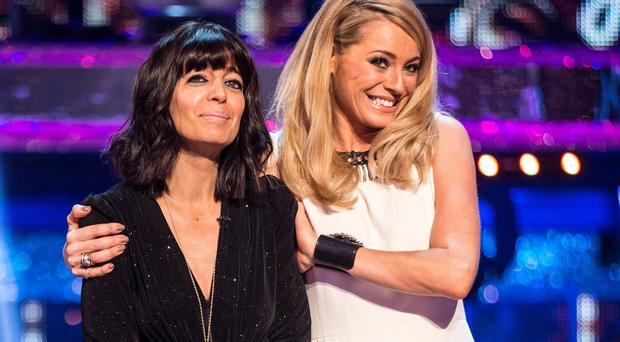 Tess Daly, right, hugs Claudia Winkleman during the Strictly Come Dancing live show (BBC/PA)