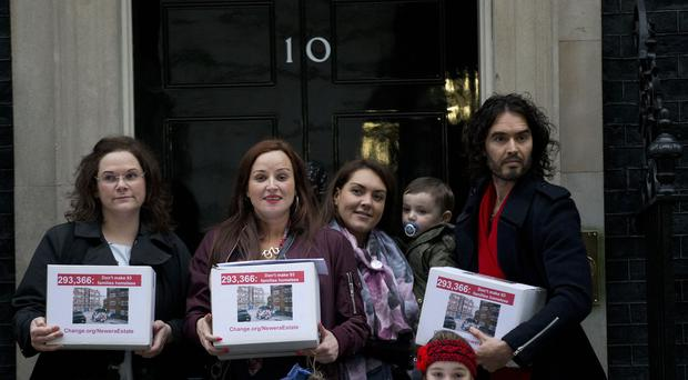 Russell Brand was delivering a petition to No 10 as part of a campaign over the cost of housing in London