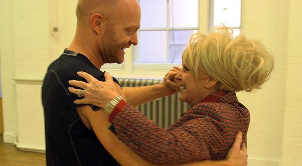 Barbara Windsor has visited Jake Wood in training for Strictly Come Dancing