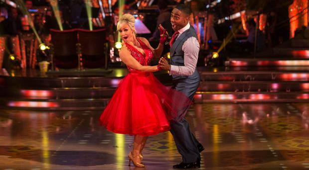 Simon Webbe and Kristina Rihanoff in dress rehearsals for Strictly Come Dancing