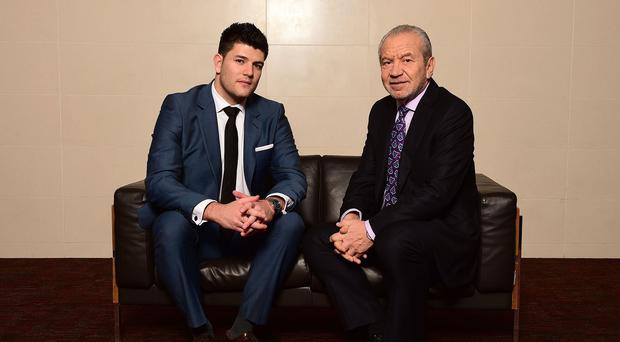 Mark Wright celebrates with Lord Sugar