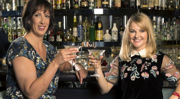 Sarah Hadland and Miranda Hart toast the end of BBC show Miranda