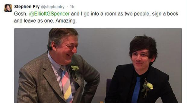 Stephen Fry announced he had married Elliott Smith on Twitter