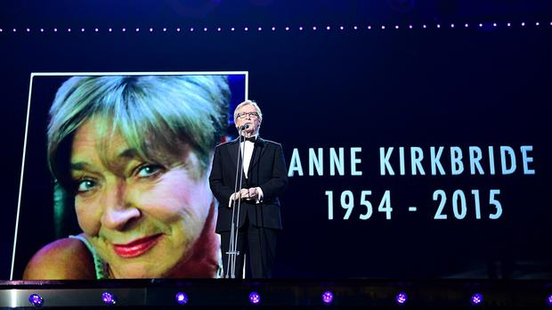 William Roache pays tribute to Anne Kirkbride on stage during the 2015 National Television Awards at the O2 Arena, London.
