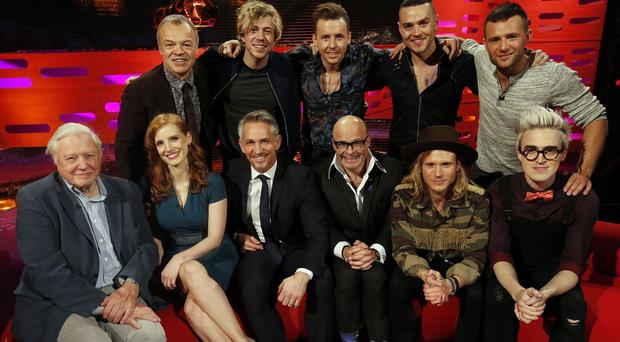 Graham Norton welcomed Sir David Attenborough, Jessica Chastain, Gary Lineker, Harry Hill and McBusted onto his sofa