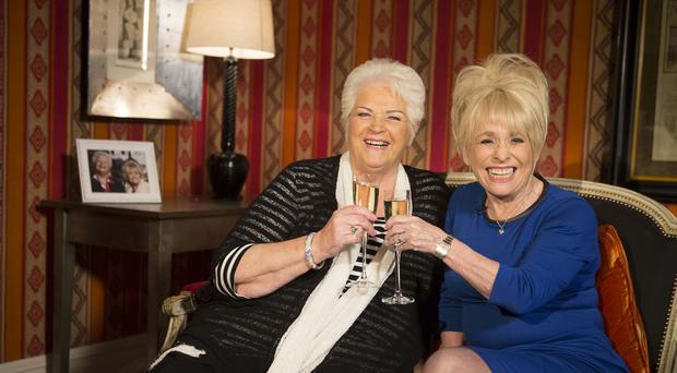Barbara Windsor (right) and Pam St Clement as they look back on the good old days to celebrate the 30th anniversary of EastEnders.