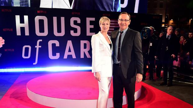 Robin Wright and Kevin Spacey attend the world premiere of House Of Cards season three