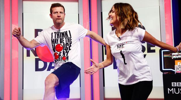 Dermot O'Leary with Caroline Flack as he takes part in his 24-hour danceathon for Comic Relief
