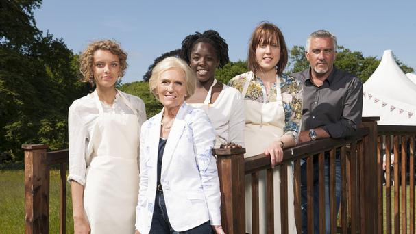 Ruby Tandoh (extreme left) had been accused of flirting with Paul Hollywood (right)
