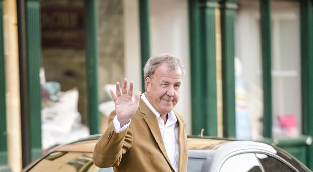 Jeremy Clarkson was in jovial mood as he arrived for a stint as a charity auctioneer