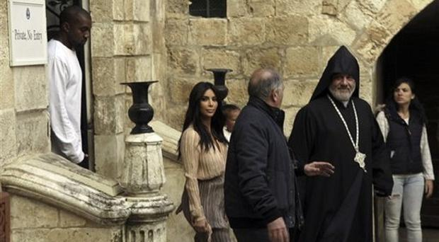 Kim Kardashian and Kanye West in Jerusalem. (AP)