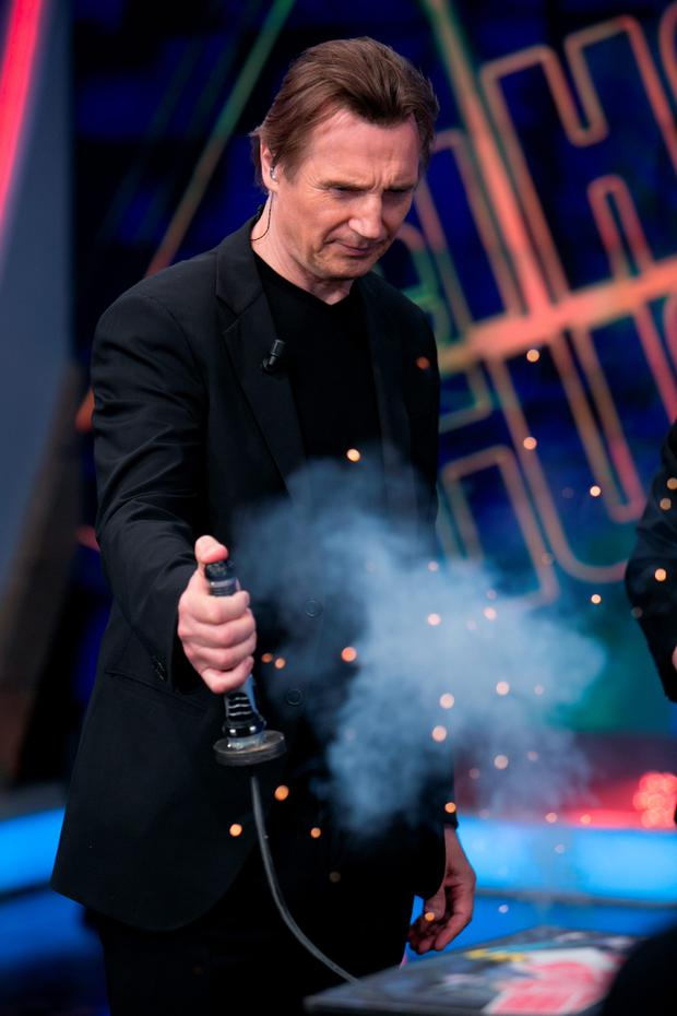 Liam Neeson at the El Hormiguero TV show in Madrid yesterday