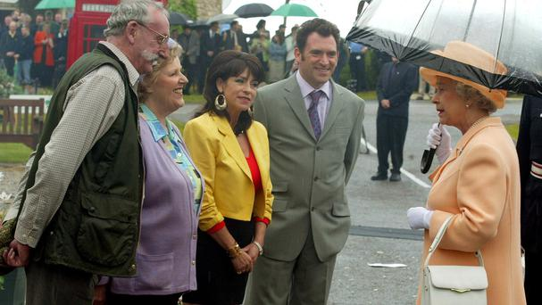 Paula Tilbrook (second left), who plays Betty Eagleton, met the Queen on her Golden Jubilee tour of Britain