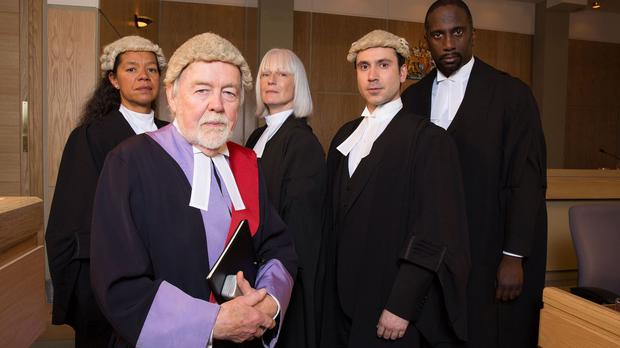 William Gaunt, second left, will play Judge St John Redmond in the trial of Dot Branning (BBC/PA)