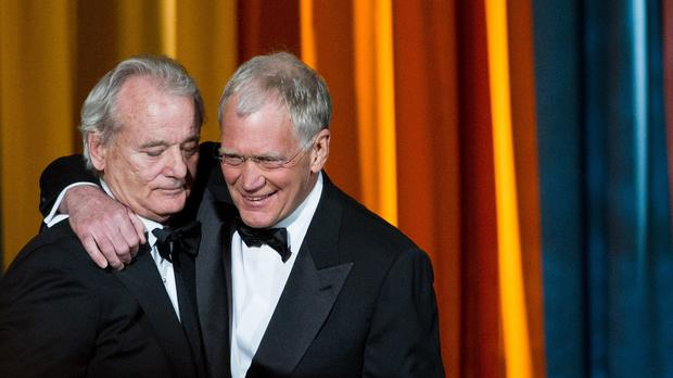 Bill Murray (left) surprised David Letterman as the talk show host prepared to retire (AP Photo/Charles Sykes, File)