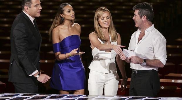 Judges (left to right) David Walliams, Alesha Dixon, Amanda Holden and Simon Cowell, choosing the line-up for the live semi-final shows for the ITV1 talent show, Britain's Got Talent
