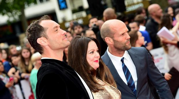 Jude Law, Melissa McCarthy and Jason Statham attending the European premiere of Spy at the Odeon Leicester Square, London (Ian West/PA Wire